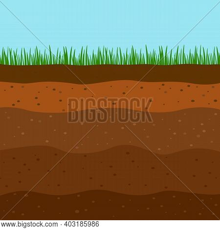 Flat Soil Diagram Template Composed Of Different Layers And A Top Layer Of Green Grass.