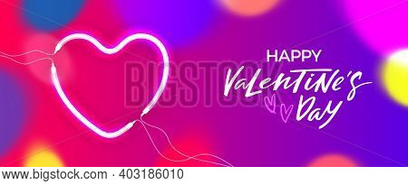Valentines Day Banner With Glowing Neon Heart And Colorful Bokeh. Vector Love Holiday Concept With S