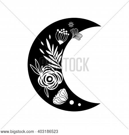 Floral Moon Logo. Beauty Black Moon Tattoo. Celestial Crescent Isolated. Hand Drawing Moon With Flow
