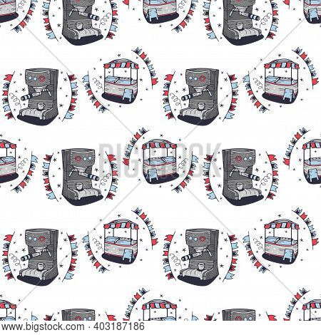 Coffee Maker And Mobile Food Cart. Seamless Pattern On A White Background. Cute Vector Illustration.
