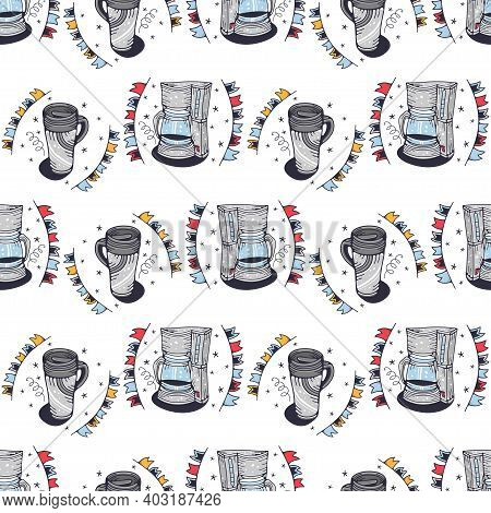 Coffee Makers And Thermo Mugs. Seamless Pattern On A White Background. Cute Vector Illustration.