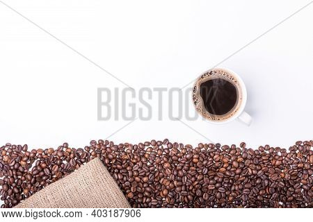 Top View Of White Cup Filled With Hot Coffee