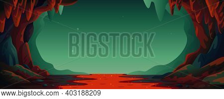 Cave - Vector Cartoon Background. Cavern Landscape With An Underground Lava River In Greenish-blue C