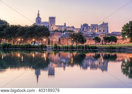 Avignon With Popes Palace During Evening In Provence, France