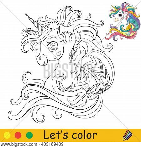 Cute Unicorn Head With Long Mane And Ribbons. Coloring Book Page With Colorful Template. Vector Cart