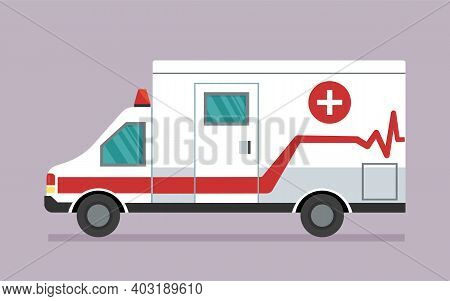 Ambulance Car. First Aid For Isolation, Viruses And Pandemics. A Means For The Safe Transportation O