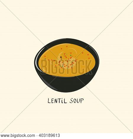 Lentil Soup In A Bowl With And Herbs. Turkish Cuisine