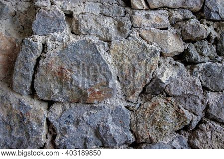 Old Stone Wall Rustic Texture Background. Blue And Gray Retro Stone Wall Background. Brick Rock Text