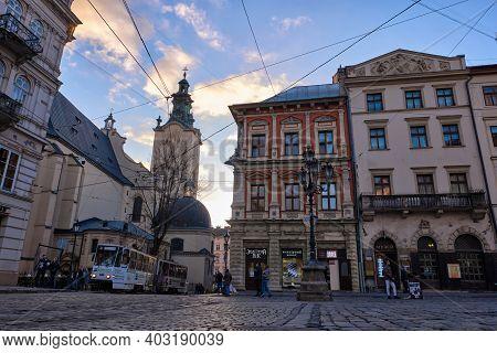 Lviv, Ukraine - November 5, 2020: The Corner Of Rynok Square And View Of Latin Cathedral In Lviv, Uk