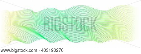 Abstract Green, Yellow Waveform. Vector Pulsating Wave Pattern, White Background. Flowing Waving Rib