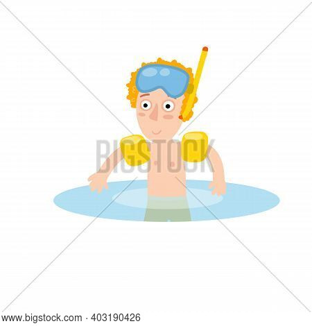 Boy In Inflatable Armbands Learns To Swim. Red Hair Child Plays In Water. Mask For Underwater Diving