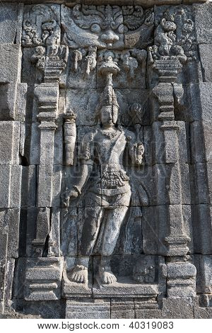 Images of Boddhisattva on wall of Perwara (guardian) temple in Candi Sewu complex (means 1000 temples). It has 253 building structures (8th Century) and it is the second largest Buddhist temple in Java Indonesia. poster