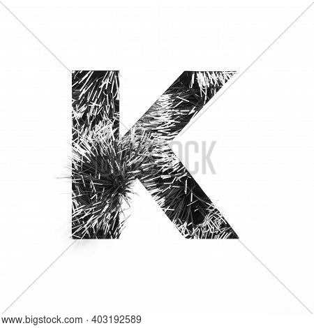Letter K Of Monochrome Black And White Tinsel And Paper Cut. Festive English Alphabet For Minimalist