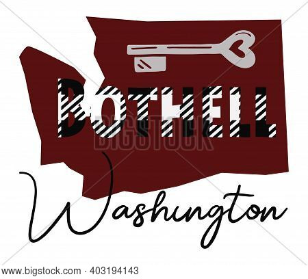 Bothell Washington Graphic Illustration With Black And White Plaid In The Letters In Burgundy Shape