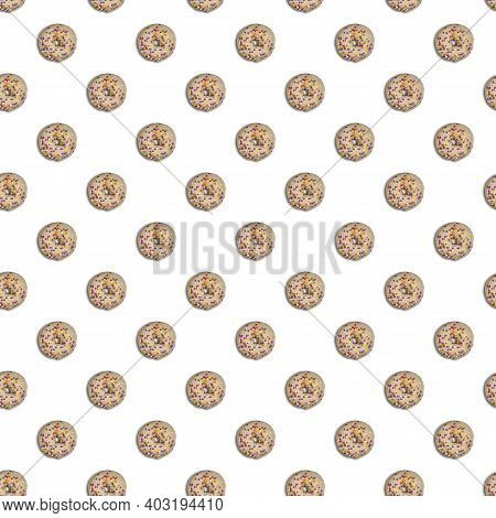 Seamless Pattern With Doughnuts Glazed With White Chocolate And Colorful Yellow, Purple, Pink And Wh