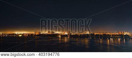 Calm Big Beautiful Dnieper River In The Huge Night Bright City Of Dnipropetrovsk In Wonderful Ukrain