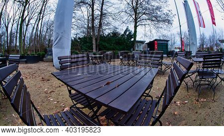 Berlin, Germany - January 13, 2021 - Empty Tables In A Beer Garden Due To The Corona Crisis