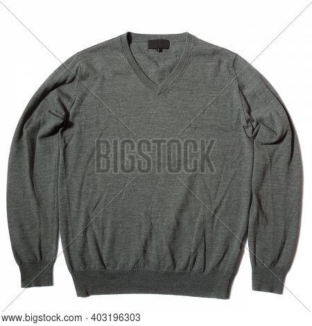 Classic Grey Merino Wool Jumper On White Background