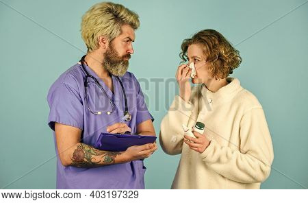 Doctor Communicates With Woman. Medical Treatment. Virus Infection Symptoms. Medical Help. Ask For C