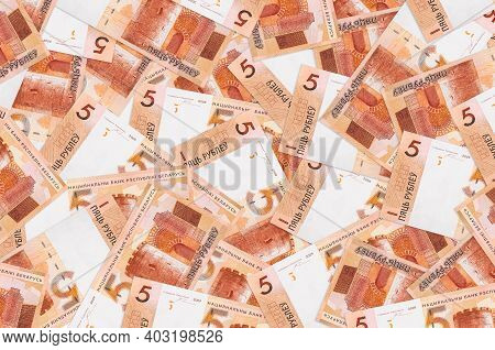 5 Belorussian Rubles Bills Lies In Big Pile. Rich Life Conceptual Background. Big Amount Of Money