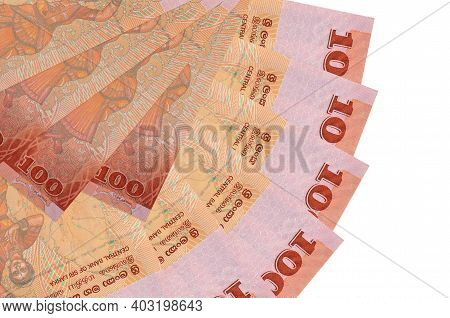 100 Sri Lankan Rupees Bills Lies Isolated On White Background With Copy Space Stacked In Fan Shape C