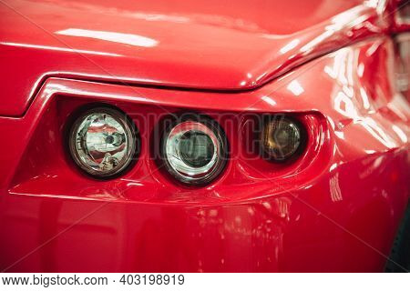 Detail Of The Car. Retro Taillight In The Museum. Car Lamp Close-up.