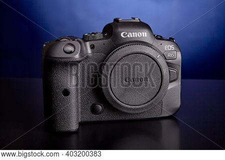 St. Petersburg, Russia - January 9, 2021: Canon Eos R6 Mirrorless Digital Camera.