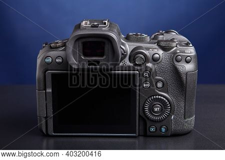 St. Petersburg, Russia - January 9, 2021: Full Frame Mirrorless Digital Camera Canon Eos R6 With Fam