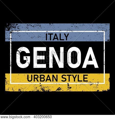 Genoa. Multicolored Colorful Contrast Isolated Inscription. Genoa Text For Prints On Clothing, T-shi