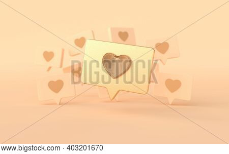 Like Heart Icon On A Pin 3d Rendering. Social Media Notification. Social Network Symbol Background.