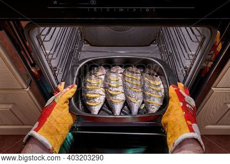 Arms Put The Raw Dorado Fish With Lemon And Spices On A Baking Sheet In The Oven. Fish Cooking Conce