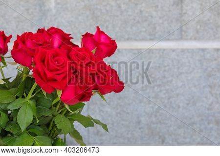 Bouquet Of Red Roses And Blank Space For Text. Love, Flowers, Valentines Day And Holidays Concept