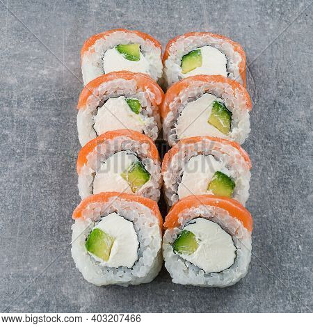 Traditional Delicious Fresh Sushi Roll Set. Sushi Roll With Cream Chees, Salmon. Sushi Menu. Japanes