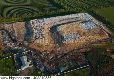 Waste Disposal Site Or Landfill With Plastic And Other Inorganic Waste Harmful To Nature, Aerial Vie