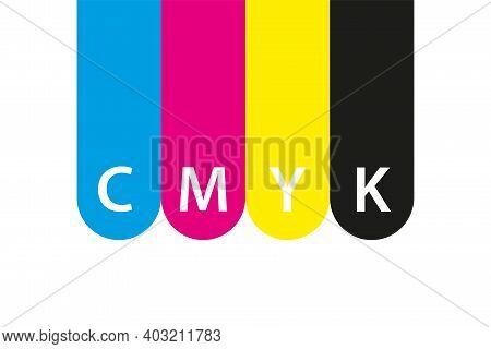 Cmyk Print Icon. Four Circles In Cmyk Colors Symbols. Cyan, Magenta, Yellow, Key, Black Wheels Isola