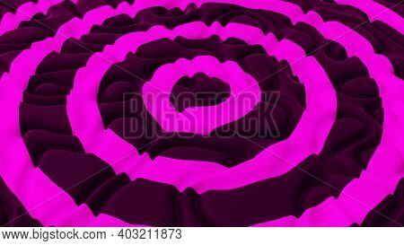 Abstract Background With With Pink Circles On The Noise Wave Field. Detailed Displaced Surface. Mode