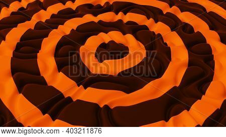 Abstract Minimalistic Background With Black Orange Noise Wave Field. Detailed Displaced Surface. Mod