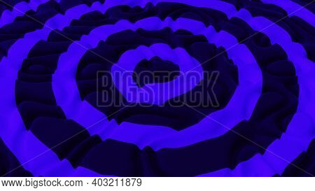 Abstract Minimalistic Background With Purple Circles Noise Wave Field. Detailed Displaced Surface. M