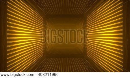 Abstract Orange Futuristic Wooden Tunnel Background With Haze Corridor And Volumetric Light. Glowing