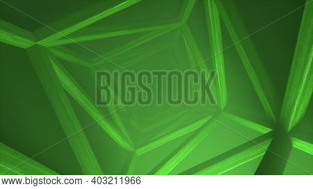 Abstract Futuristic Wooden Tunnel Background With Haze Corridor And Volumetric Light. Glowing Green