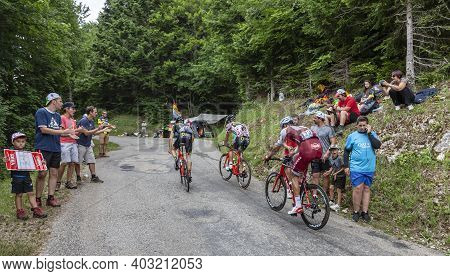 Le Bourget-du-lac, France - July 9, 2017: The Swiss Cyclist Reto Hollenstein Of Team Katusha Is Clim