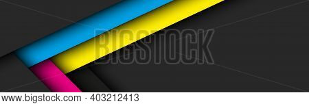 Abstact Vector Header With Lines In Cmyk Colors. Triangle Overlap Layers Dark Banner With Free Space