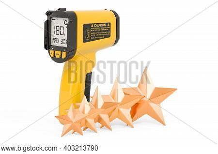 Customer Rating Of Infrared Thermometer, Pyrometer. 3d Rendering Isolated On White Background