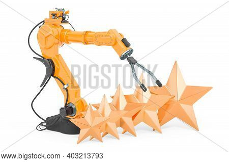 Customer Rating Of Robotic Arm. 3d Rendering Isolated On White Background