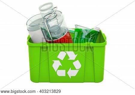 Recycling Trashcan With Electric Juicer, 3d Rendering Isolated On White Background