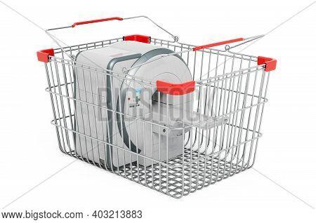 Mri Inside Shopping Basket, 3d Rendering Isolated On White Background
