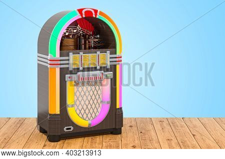 Vintage Jukebox On The Wooden Planks, 3d Rendering