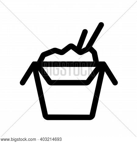 Wok Food Outline Icon Isolated On White Background.