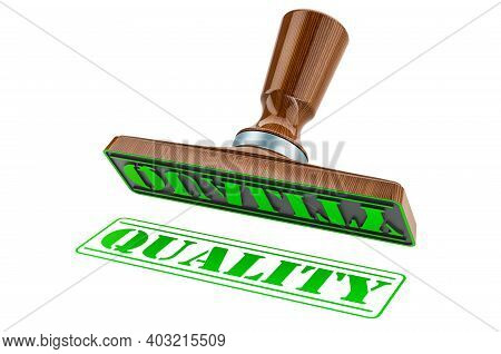 Quality Stamp. Wooden Stamper, Seal With Text Quality, 3d Rendering Isolated On White Background