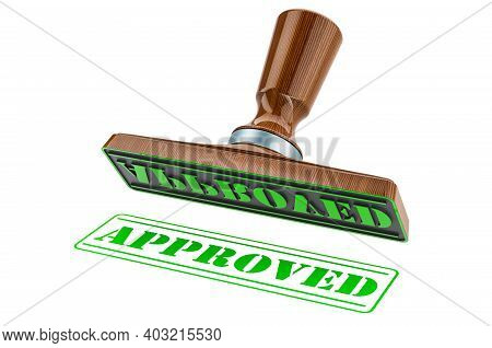 Approved Stamp. Wooden Stamper, Seal With Text Approved, 3d Rendering Isolated On White Background